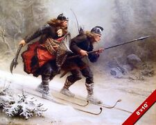 SKIING WARRIORS W NORWEIGAN BABY PRINCE HAAKON PAINTING ART REAL CANVAS PRINT