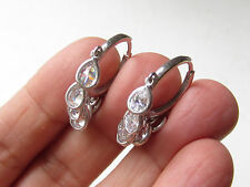 TURKISH WHITE TOPAZ 925K STERLING SILVER HANDMADE DROP HOOP EARRINGS