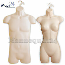A SET of FLESH BODY MANNEQUINS:MALE & FEMALE BODY FORMS (for SM-MD) with HANGERS