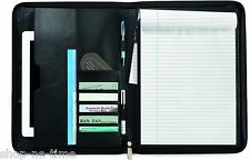 Travis & Wells Executive Zippered Black Leather iPad/tablets Padfolio - New
