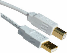 1.8 Metre Gold USB 2.0 White Cable Printer Lead A TO B Male Epson Cannon HP