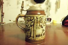 Rare Vtg Original Gerzit (Gerz) Lidded Raised Relief Ceramic Beer Stein, Germany