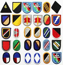 30 US Army Beret Flash and Oval Military Sew-On Insignia Patches Lot #230