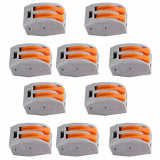 10pcs Spring Lever Terminal Block Electric Cable Wire Connector 2 Way SKUK