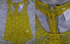 NWT WOMEN'S CHARLOTTE RUSSE SMALL S YELLOW LACE RACERBACK TANK TOP SHIRT