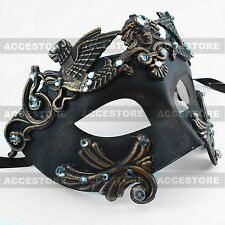 Black/Dark Gold Roman Greek Emperor Men's Masquerade Mardi Gras Venetian Mask