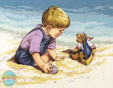 Cross Stitch Kit ~ Janlynn Seashore Fun Little Boy & Teddy Bear #029-0057