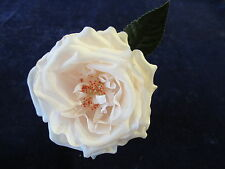 "Millinery Flower Rose 4"" Faint Pink Champagne Silk for Hat Wedding + Hair KL8"