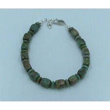 .925 Sterling Silver Natural Green Kingman Turquoise Bracelet