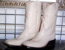 NEW ANDERSON BEAN SQUARE TOE CREAM KIDSKIN DYABLE COWBOY BOOTS 7.5D LADIES 8.5D