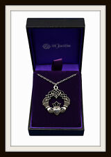 IRISH CELTIC CLADDAGH ~ PEWTER. NECKLACE PENDANT ~ FROM ST. JUSTIN ~ FREE P&P