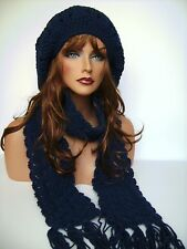 WOMENS NAVY BLUE RASTA HAT AND SCARF SET BERET CLOCHE BAGGY SLOUCHY