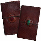 "9"" Handmade Real Leather Floral Diary Journal Sketchbook Cartridge Paper & Stone"