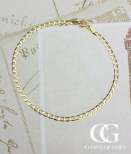 Ladies Fine 9ct Yellow Gold Diamond Cut Flat Curb Bracelet 7.5""