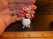 BEAUTIFUL BOUQUET OF FLOWERS IN A PORCELAIN 3 LEGGED VASE -  MINIATURE