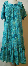 Floral Green Short MuuMuu Dress Tropical Size Large Made In Hawaii