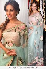 Latest Bollywood Sari Designer Aqua Blue Embroidered Party wear saree