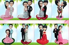 Custom made wedding cake topper clay Hand Made Bride and Groom figurines