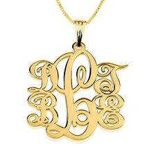 Monogram Necklace Chain Pendant Initial Name Neckless My Name 18k GOLD PLATED