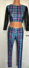 Sexy School Girl Costume Pink Blue Plaid Sz Extra Small XS S Small Dancer