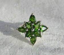 Impressive Green Chrome Diopside Sterling Silver Cluster / Statement Ring
