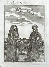 Disfraz de japonesa o Mughal, India Mazo Original Antigua de impresión de 1719 A.