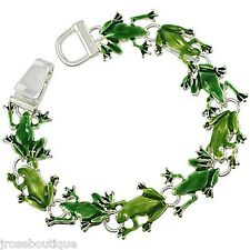 RETRO LEAP SILVER GREEN FROG BRACELET MAGNETIC CHARM LINK LILY PAD TOAD 925 PLT