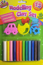 15 Piece Non Toxic Modelling Clay (Play Dough) Set (12 Colours & 3 Cutters)