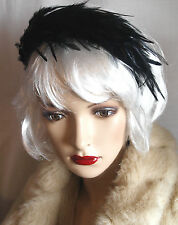 Vintage 1940s 1950s  BLACK VELVET FEATHER Black Swan Headband Hat Revival NEW