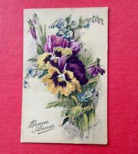 Carte Postale. 1931-32. Illustrateur. A.RENAULT. Signée. Fleurs. Bonne Année