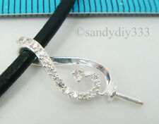 1x STERLING SILVER CZ CRYSTAL PEARL BAIL PIN PENDANT SLIDE CONNECTOR #2076