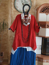 8192 LABASS 2016 Kurzarm Leinen Zipfel Shirt NADINE rot Gr. XL 48 50