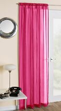 SLOT TOP PLAIN VOILE NET CURTAIN PANEL ROD POLE OR WIRE ALL COLOURS & SIZES