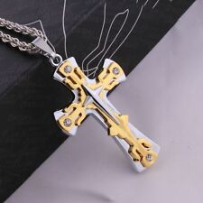 "32"" Mens Stainless Steel Two Tone CZ Cross Pendant Wheat Chain Necklace #NL13"
