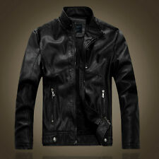Mens Retro Style Zipped Biker Jacket Casual Fleece Lined Stand Collar Hunt Coat