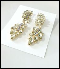 Gold Plated Crystal Rhinestone Drop Dangle Prom Wedding Earrings/Post Earwires