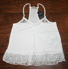 NWT Abercrombie Girls Small White Shine Lace Hem Tank Top