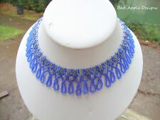 Blue Silver Crystal Glass Seed Bead Draped Princess Necklace Netted