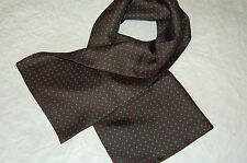 CLASSIC DARK CHOCOLATE BROWN SILK TWILL SCARF. NEW