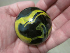 "TOE BREAKER 50mm(2"") POISON DART FROG Black/Yellow Marbles glass ball HUGE Swirl"
