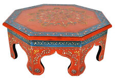 """Antique Wood Carved Furniture Chowki Table Moroccan Worship Round Footstool 16"""""""