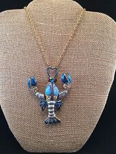 "BETSEY JOHNSON ""Into The Blue"" Lobster Long Pendant Necklace NWT L@@K Fast Ship!"