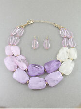 TWO LAYERS MULTI PURPLE CREAM LUCITE BEAD GOLD CHUNKY NECKLACE EARRING SET