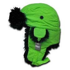Neon Green Aviator Bomber Faux Fur Ski Winter Trooper Trapper Ear Flap Hat L/XL