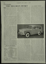 The Hillman Husky Review Specification Road Test 1958 1 Page Photo Article
