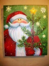 Lighted Santa Claus w Tree Picture on Canvas with Led Lights Wall Art Christmas