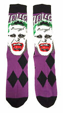 DC COMICS SUICIDE SQUAD JOKER FACE LAUGHING JARED LETO MENS CREW SOCKS PURPLE