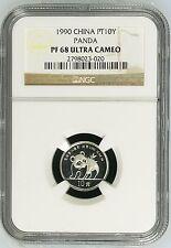 China 1990 1/10 oz 10 Yuan Platinum Proof Panda  NGC PF68UC  #2798023-020