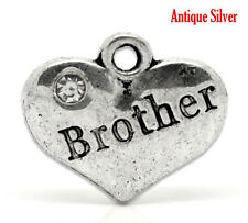 "1 Silver Rhinestone BROTHER Heart Charms 16x14mm 5/8"" x 1/2"" chs0864"