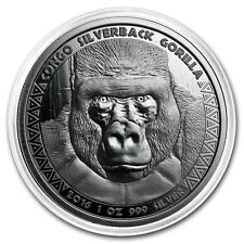 SILVERBACK GORILLA - 2016 1 oz Pure Proof Like Silver Coin in Capsule - Congo
